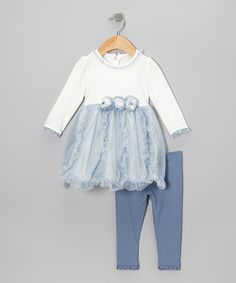 Look at this #zulilyfind! Blue Ruffle Rosette Tunic & Leggings - Infant #zulilyfinds