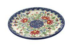 Jungle Bouquet Dessert Plate - Blue Rose Polish Pottery