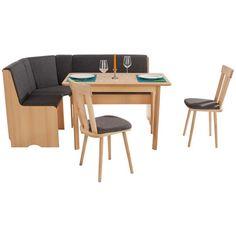 Sarokétkező garnitúra, pepper szövet huzattal, bükk dekor kivitelben, elemei: 2 kárpitozott szék, 1 sarokpad tárolórésszel, 1 étkezőasztal, sarok mindkét állásba szerelhető, sarokméret: kb. 164/124cm