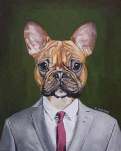 tableau portrait animalier  animal humanisé  peinture acrylique sur toile
