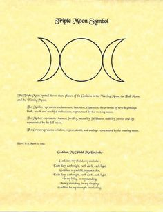 Details about Book of Shadows Spell Pages ** Triple Moon Symbol ** Wicca Witchcraft BOS Witchcraft Symbols, Wiccan Spells, Pagan Witch, Love Spells, Witches, Witchcraft Tattoos, Witch Symbols, Pagan Altar, Goddess Symbols