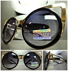New VINTAGE 60's RETRO Bold Unique CAT EYE Style SUN GLASSES Gold & Black Frame in Clothing, Shoes & Accessories, Women's Accessories, Sunglasses & Fashion Eyewear | eBay