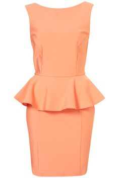 PEPLUM SCUBA PENCIL DRESS    Price: $96.00  Color: PEACH  Item code: 10J24BPCH