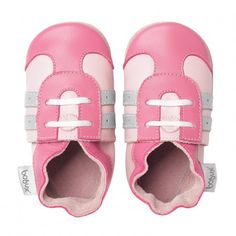 Pink Sports Shoe Soft Sole in Pink and Silver by Bobux