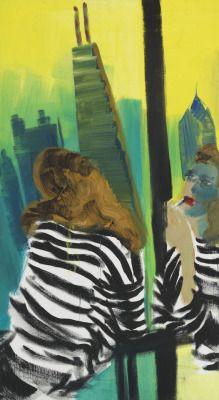 Rainer Fetting (German, b. 1949), Chicago Lipstick, 1991. Oil on jute, 224 x 122 cm.