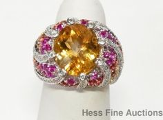 Huge 14k White Gold Citrine Fancy Color Sapphire Diamond Ring w Indep Appraisal #FashionRightHandStatement