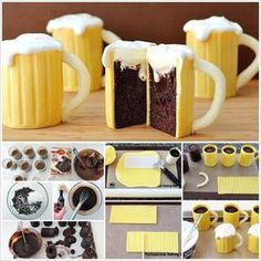 Take your cupcake decorating skills to the next level by making this creative beer mug looking dessert cupcakes. Besides the fact that they look good, the cupcakes will absolutely delight Mug Cupcake, Cupcake Cakes, Beer Cupcakes, Cup Cakes, Mini Cakes, Easter Cupcakes, Food Cakes, Cupcake Recipes, Dessert Recipes