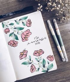 Beautiful floral January cover page inspiration for your bujo (origin unknown) Planner Bullet Journal, Bullet Journal Cover Page, Bullet Journal Mood, Bullet Journal Ideas Pages, Bullet Journal Spread, Bullet Journal Layout, Journal Covers, Bullet Journal Decoration, Bellet Journal