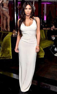Kim Kardashian in a white maxidress