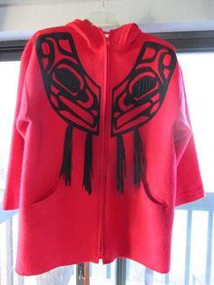 Vintage Wool Linda Lundstrom LaParka Haida Art coat- STATEMENT PIECE #LAPARKALindaLundstrom #WoolBlanketDuffleCoat Duffle Coat, Parka Coat, Haida Art, Blanket Coat, Vintage Wool, Adidas Jacket, Design Inspiration, Best Deals, Red