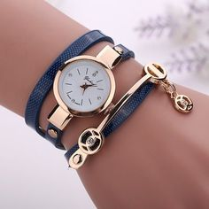 Wrap Pu leather blue dress woman wrist watch
