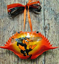 Hand painted blue crab shell Baltimore Orioles by NaturesMyCanvas, $12.00