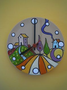 ceramics as a profession: Bright colors for the landscapes of these watches in cuerda seca. Pottery Painting, Ceramic Painting, Fabric Painting, Stone Painting, Ceramic Art, Clay Projects, Clay Crafts, Ceramic Plates, Ceramic Pottery