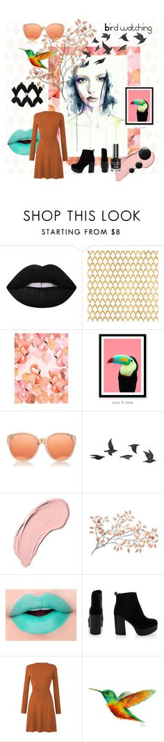 """""""bird watching"""" by beanpod ❤ liked on Polyvore featuring Lime Crime, Barclay Butera, Linda Farrow, Jayson Home and NYX"""