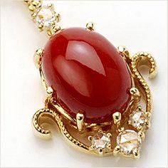 限定10本「スペッキオ」 specchio 血赤珊瑚×ローズカットダイヤモンドペンダントトップ