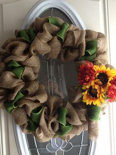 Burlap wreath for fall :-)