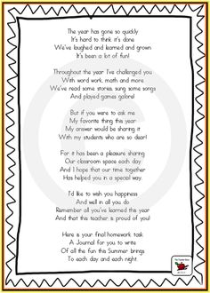 Cute end of year poem to go with End of Year Gift - Summer Journal. Great ideas for keeping kids busy over Summer Poems For Students, Letter To Students, Letter To Parents, Kindergarten Graduation, In Kindergarten, Graduation Songs, Graduation Ideas, School Gifts, Student Gifts