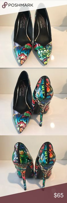 Keyshia Cole Steve Madden Heels (Never Wore) Keyshia Cole collaborated with Steve Madden! These graffiti heels never have been wore and can match any outfit! Heel is 4 and 1/2 inches! Steve Madden Shoes Heels