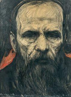 Portrait of Dostoevsky, Paris, 1968, by Ilya Glazunov
