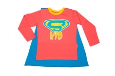 Camiseta con capa Super Kid coral