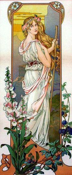 "Flower Series: ""Mountain Flowers"" -- by Elisabeth Sonrel (French, Art Nouveau Mucha, Alphonse Mucha Art, Art Nouveau Poster, Vintage Posters, Vintage Art, Jugendstil Design, Inspiration Art, Art Moderne, Art Deco Design"