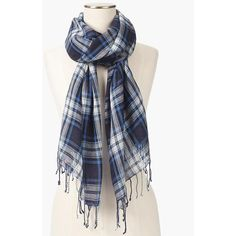 Talbots Women's Fringed Tartan Plaid Scarf ($80) ❤ liked on Polyvore featuring accessories, scarves, wool shawl, talbots scarves, blue scarves, long scarves and oblong scarves