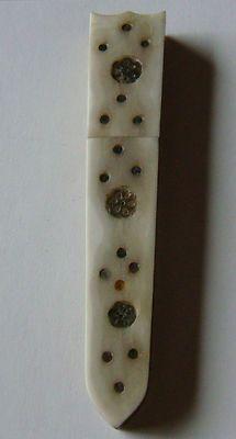 Antique Bone w/Brass Inlay Sewing Needle Holder Case