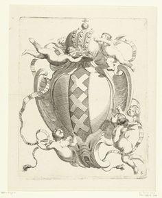 Johannes Lutma (II)   Kwabcartouche met het stadswapen van Amsterdam, Johannes Lutma (II), c. 1653 - c. 1655   De keizerskroon bovenaan wordt gedragen door putti.
