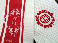 Monogrammed kitchen towels. Red and white.