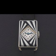 """1920s """"Madame Agnes"""" white gold and black enamel watch by Elgin"""
