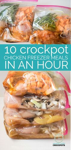 Do you love freezer meals? Find out how to Make 10 Crockpot Chicken Freezer Meals In An Hour! Gluten Free & Dairy Free Options too! Perfect for 21 Day Fix!