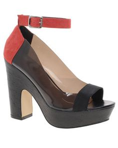 FLARE pick: ASOS colour blocked suede and vinyl open-toe pump with ankle strap, $114