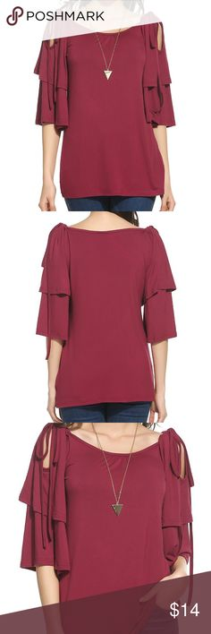 New. Red Blouse by Meaeor. It's a size small Pretty wine red color perfect for the holidays. Size Small  Material: 35% Polyester, 65% Cotton Feature: Cold shoulder/Off shoulder,3/4 flare sleeve/Batwing sleeve,Casual summer tops shirts blouses This cold shoulder 3/4 sleeves blouse can be worn casually with jeans, leggings, shorts or tucked in mini/ midi skirt etc.Suitable for Casual dress and formal occasion. 🚫No trades. 🚫No lowball offers. 🚫no offers on already discount bundles. Price is…