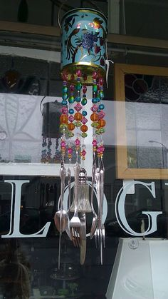 Windchimes on pinterest wind chimes beads and spoons for How to make a windchime out of silverware
