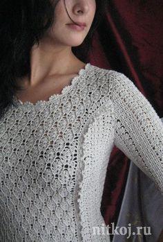 Белое платье крючком, схемы