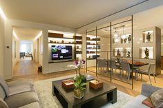 Manhattan Apartment   Fumed white oak in a chevron pattern BW Architects Clark Construction