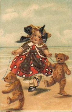 """""""Girl with Two Teddy Bears """" antique postcard. .Magnus Greiner 1858-1923"""