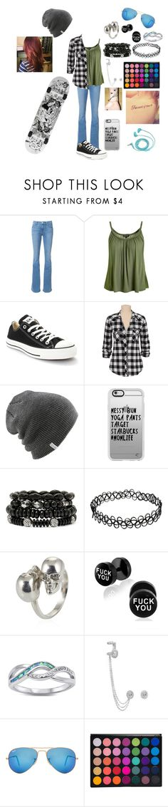 """Untitled #129"" by skatergurl58 ❤ liked on Polyvore featuring Frame Denim, Topshop, Converse, Silver Jeans Co., Coal, Casetify, Mixit, Alexander McQueen, Messika and Ray-Ban"