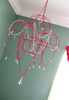 homemade chandelier from dollar store-want   to do this for yw new beginnings. arise and shine forth is the theme and we're   doing a chandelier theme for the night.