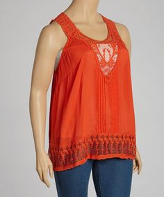 Look what I found on #zulily! Red Embroidered Tank - Plus by Simply Irresistible #zulilyfinds