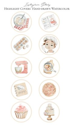 This set is great for social media promotion of pastry chef, baker, chef. Also perfect for Instagram story icons, postcard making, invitations, websites, blogs, gift and box packaging, planner stickers, branding, marketing materials, social media, blog designs, cake logo, cupcake logo, bakery logo, watercolor logo and much more. Cupcake Logo, Bakery Logo, Watercolor Logo, Social Media Icons, Instagram Highlight Icons, Story Highlights, Beige Color, Planner Stickers, Instagram Story
