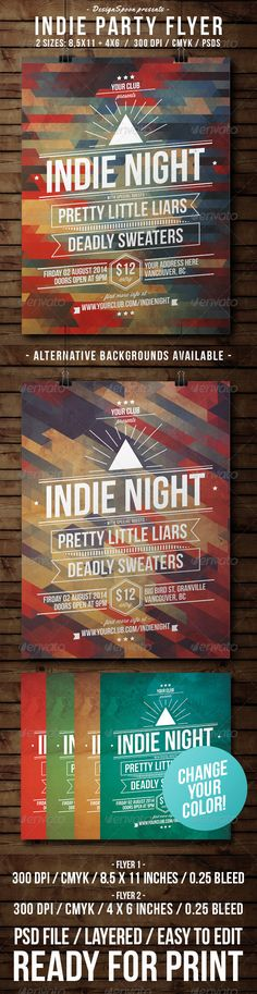 Indie Party Flyer Template PSD | Buy and Download: http://graphicriver.net/item/indie-party-flyer/8432573?WT.ac=category_thumb&WT.z_author=DesignSpoon&ref=ksioks