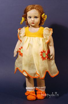 "Lenci, ""Rita"" 14 1/2"", ca 1933,  dress is from Lenci doll of 1986."