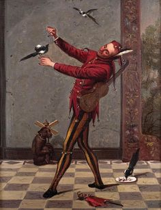 19th Century School COURT JESTER WITH PETS oil on canvas unsigned