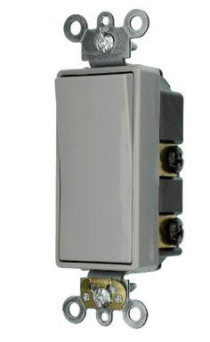 Leviton 5622-2GY 20-Amp 120/277-Volt Decora Plus Rocker Double-Pole AC Quiet Switch, Gray