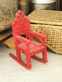 vintage folk art dollhouse chair, made of clothes pins