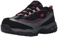 Skechers for Work Womens DLite Slip Resistant Service Work ShoeBlackPink7 M US ** Check out the image by visiting the link.