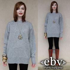 #Vintage #80s #Grey #Wool #Oversized #Hipster #Boyfriend #Unisex #Sweater S M L by #shopEBV http://etsy.me/16f7635 via @Etsy #etsy #fall by shopEBV, $48.00