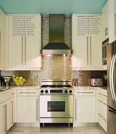 i have always loved this kitchen! the blue ceiling and glitzy backsplash are so fun.