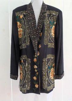 CAROLE LITTLE Petites: Black Floral Rayon Button Up Jacket Size 2P- EUC